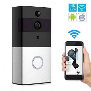 Sonnette Vidéo sans Fil avec Caméra HD, Objectif Grand Angle, Intercom Audio Bidirectionnel, Carte TF 8 Go, Vision Nocturne IR, Détection de Mouvement PIR, Télécommande Intelligente APP pour iOS et Android via WiFi 2,4 G de la marque Arkmiido image 0 produit