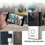 Sonnette Vidéo sans Fil avec Caméra HD, Objectif Grand Angle, Intercom Audio Bidirectionnel, Carte TF 8 Go, Vision Nocturne IR, Détection de Mouvement PIR, Télécommande Intelligente APP pour iOS et Android via WiFi 2,4 G de la marque Arkmiido image 1 produit