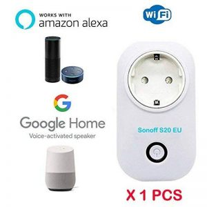 Sonoff S20 EU ( 1 pièces )WiFi intelligente sans fil WiFi Prise de courant avec contrôle de APP iOS et Android Blanc Prise Socket pour la maison et bureau (Fonctionne avec Amazon Alexa Google Home Nest IFTTT) avec App Contrôle partout et à tout moment (EU image 0 produit
