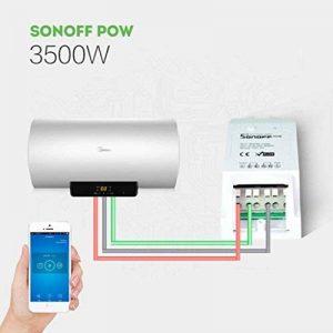 sonoff VARO POW Wi-Fi Wireless Switch On/Off, 16A/3500W avec mesure en temps réel consommation, intelligent application Télécommande Prise, fonctionne avec AAM Montbazon Echo Alexa et Google Home (1pcs) de la marque AMH image 0 produit