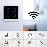 SUNSETGLOW Smart Wifi Interrupteurs 4 Gang, Amazon Echo Et Google Home Pris En Charge, Interrupteur Mural Moderne À Écran Tactile, Télécommande, Fonction Timing, Contrôle Smartphone de la marque SUNSETGLOW image 1 produit