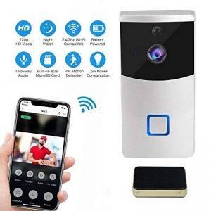 Teepao Sonnette Vidéo sans Fil Wifi HD, Sonnette sans Fil avec Système Audio Bidirectionnel Détection de Mouvement et Connexion Wi-fi Convient pour Smartphone, Argent de la marque Teepao image 0 produit