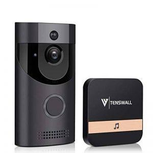 Tenswall Sonnette vidéo sans fil, Caméra de sécurité Wifi HD 720P, Système bidirectionnel de conversation et de vidéo en temps réel, Détection de mouvement, Vision de nuit infrarouge multifonction intégrée de la marque Tenswall image 0 produit