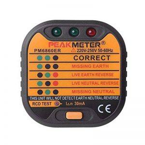 Testeur de prise électrique automatique prise de courant testeur de polarité Carreaux Mètre Neutre en direct de terre les tests avec prise anglaise de la marque Konesky image 0 produit