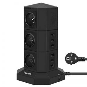 Tour Multiprises Parafoudre et Surtension,Powerjc 6 Prises Electrique Informatique 6 Ports (5V 2,4A) Multiprise USB avec 6ft Rallonge Electrique,Interrupteur,Adaptateur Douille Noir de la marque Powerjc image 0 produit