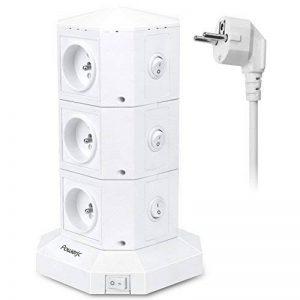 Tour Multiprises Parafoudre et Surtension,Powerjc 6 Prises Electrique Informatique 6 Ports (5V 2,4A) Multiprise USB avec 6ft Rallonge Electrique,Interrupteur,Adaptateur Douille de la marque Powerjc image 0 produit