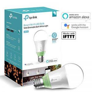 TP-Link Ampoule LED connectée WiFi, culot E27 , Lumière Ambiance Blanche, 10W, fonctionne avec Amazon Alexa (Echo et Echo Dot), Google Assistant et IFTTT pour la commande vocale, lumière blanche personnalisable froid/chaud, pas de Hub requis [Classe énerg image 0 produit