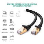UGREEN Cat 7 Câble Ethernet RJ45 Réseau Haut Débit 10Gbps 600MHz Double Blindage SFTP 8P8C Compatible avec PC TV Box Routeur Nintendo Switch Xbox PS4 Routeur Modem Rond (2M, Noir) de la marque UGREEN image 1 produit