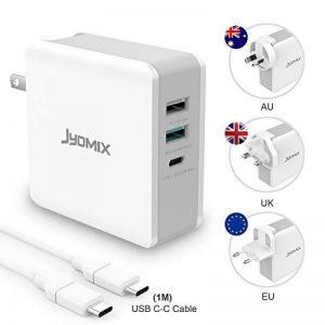 USB C Chargeur 65W, JYDMIX 3 Ports Portable USB C Charger avec USB-C Power Delivery, Rapide USB QC3.0 et USB3.0(5V/2.4A). Adaptateur Secteur de Voyage avec Prise Mâle US/UK/EU/AU et Câble USB C-C de 1M pour portables USB-C nouvellement libérés et périphér image 0 produit