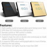 Variateur d'intensité lumineuse intelligent standard britannique en verre cristal tactile avec sa télécommande , noir, 220.0V de la marque Rongda Smart Home image 3 produit