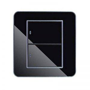 Variateur Interrupteur Intelligent Interrupteur Tactile Mural Etanche LED interrupteur Prises de Courant en Verre Cristal Noir (2 Interrupteurs Contrôle Double) X 1 de la marque Naisicatar image 0 produit