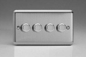 Varilight Interrupteur variateur LED, acier brossé, V de Pro Serie, 4vitesses (Double), 1ou 2voies 250W (Phase) de la marque Varilight image 0 produit