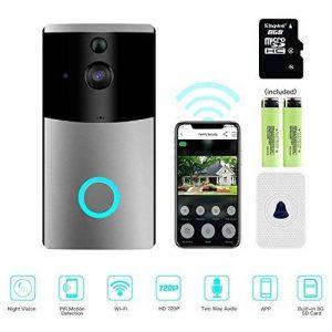 vidéo Sonnette, Mascarry Wifi Smart Sonnette, HD 720p Caméra de sécurité de porte, carte 8g Intégré, support de détection de mouvement, IR Vision de nuit, Audio Bidirectionnel et contrôle App pour iOS et Android de la marque MASCARRY image 0 produit