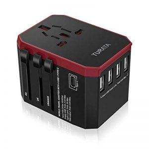 Voyage Adaptateur avec 5 Port USB Adaptateur ,TURATA Universal Adapteur Chargeur Convertisseur avec 3.0A Type C et 5.6A 4 USBPorts pour US / EU / UK / AUS Environ 150 Pays Universel Tout en un Multi-prise Daptateur et Chargeur (Rouge et Noir) de la marque image 0 produit