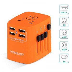 Voyage Adaptateur International HOMEASY avec Fusible de Sécurité et 4 USB (5V 2.4A) pour UE/US /UK /AUS Utilisé dans plus de 150 pays (Orange) de la marque homeasy image 0 produit