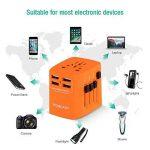 Voyage Adaptateur International HOMEASY avec Fusible de Sécurité et 4 USB (5V 2.4A) pour UE/US /UK /AUS Utilisé dans plus de 150 pays (Orange) de la marque homeasy image 3 produit