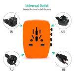 Voyage Adaptateur International HOMEASY avec Fusible de Sécurité et 4 USB (5V 2.4A) pour UE/US /UK /AUS Utilisé dans plus de 150 pays (Orange) de la marque homeasy image 1 produit
