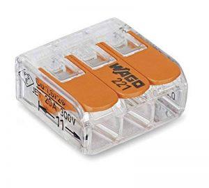 Wago 221-413 Borne de connexion 3 fils 0,2 à 4 mm² avec levier de commande, transparent modèle compact, Boite de 50 de la marque Wago image 0 produit