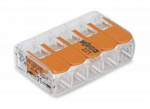 WAGO 221-415 Bornes de raccordement compactes avec leviers pour 5conducteurs de 0,14 à 4mm² - Coloris orange de la marque Wago image 0 produit
