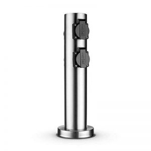 Waldbeck Plug 4 Play Round Multiprise de Jardin Fixe (Forme de Colonne Ronde 4 Prises Schuko) - Acier de la marque Waldbeck image 0 produit