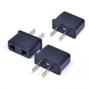 Yugee®Lot de 3 Pcs Adaptateur de voyage Secteur prise électrique universel pour brancher vos appareils français aux Etats-Unis, en Chine, au Japon et au Canada Noir de la marque Yugee® image 0 produit